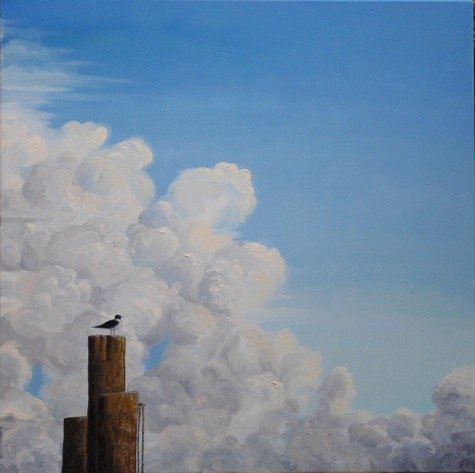 Realistic painting of seagull on piers in front of clouds and sky