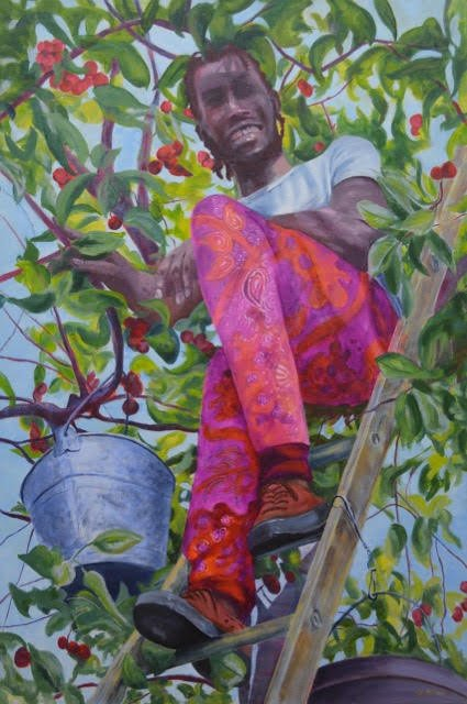Barbara Masterson painting of a smiling man on a ladder in a fruit tree.