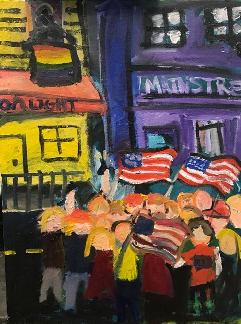 Painting by Emily Feigelman people with american flags